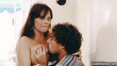Horny stepmom Syren De Mer takes a giant cock