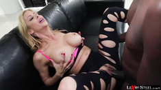 Hot blonde Alexis Fawx gets her wet pussy destroyed by Lexington Steeles dick
