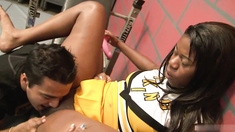 Tia Freaxxx is eager to make it onto the cheerleading team, so shes