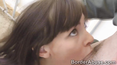 Border officer punishes beautiful trespasser with his dick