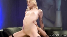 Petite European schoolgirl gets hardcore pumped by 2 studs