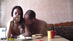 Couples sex games in the sauna
