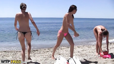 A day on the beach with hot college sluts