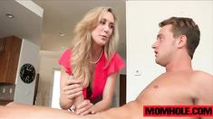 MILF Brandi Love rubs boyfriend cock for instant relief