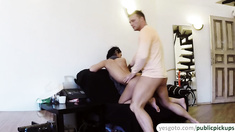 Perfect ass brunette Nancy gets fucked by a stranger in doggystyle