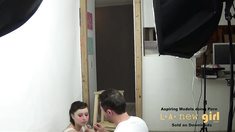 TEEN BRUNETTE FUCKED IN THE ASS AT PHOTO SHOOT CASTING