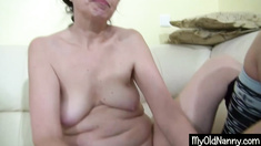 Old and young lesbians dildo play