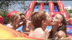 Five Lesbian Girlfriends Having A Party At Aqua Slide