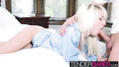 Blonde babe Stevie Shae fucked real hard and covered in cum
