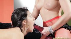 Blonde Mistress Face Fucks Lesbian Sub