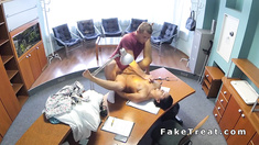 Bent over babe fucks in fake hospital