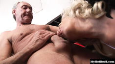 Starr is a blonde MILF with huge tits and a nice tight pussy.