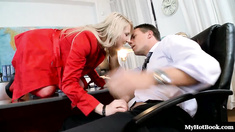 Nicole Evans sits sexily across the boss desk, and stretches out a foot