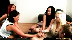 Four British Girls - One Big Cock