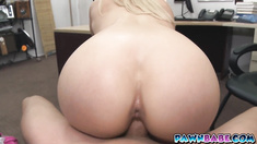 Big ass babe at the pawnman's office getting naked