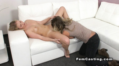 Small tittied blonde licked in casting