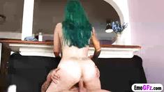 Slutty emo stepsister tastes her brothas huge cock