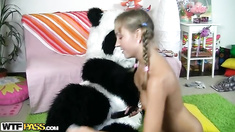 Young teeen babe plays not only with toys