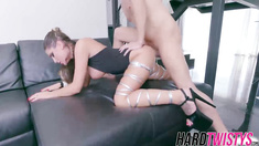 Brunette bombshell August Ames gets fucked and cummed on
