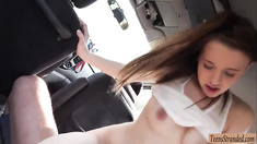 Hot teen Olivia Grace fucked while being filmed in the car