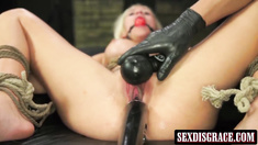 Attractive blonde Bibi Miami gets rougly molested and fucked