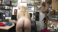 Tall sexy blonde babe Skyla Novea gobbles cock for cash