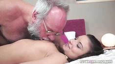 Grandpa playful with a slut