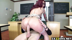 Hot teacher rides her pussy on top of students big cock