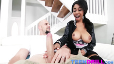 Petite ebony teen chick Brittney White fucked by Jmacs cock
