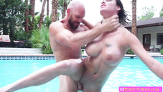 Super busty babe Peta Jensen sucks on a huge stiff cock