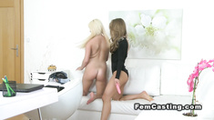 Female agent toys busty blonde model