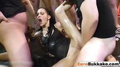 Kinky slut loves to sizzling fresh yellow pee from different guys
