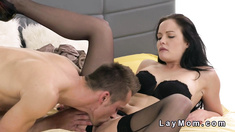 Good looking brunette Mom fucks partner