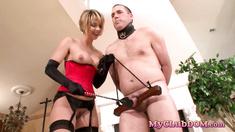 Cougar enjoys torturing her male slave