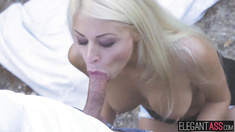 Blonde babe Chloe Lacourt gets it in the ass in the nature