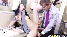 Alessa Savage fuck doggy in the washroom bends over