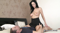 Busty Milf wanks and fucks big dick