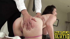 Big tits brunette Tasha Holz getting her ass pounded hard