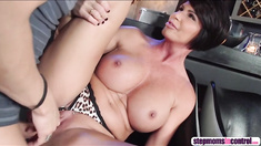 Stepmom opens mouth wide and sucks cock in front of stepdaughter