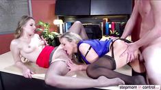 Babe Jillian Janson and hot Abbey Brooks enjoying threesome anal sex