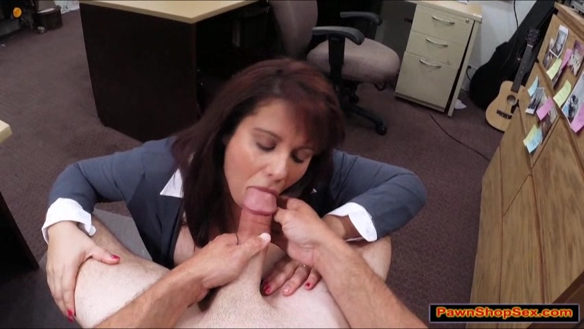 Busty Brunette Milf Sucks Dick For Cash-9615