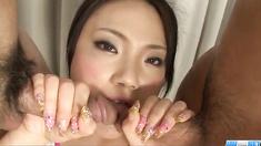 Dirty threesome porn play with Haruna Katou