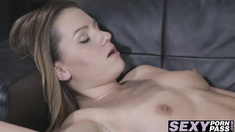 Sexy girlfriends lead a passionate lesbian sex on the couch