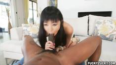 Big Black cock fucks that hairy Asian pussy