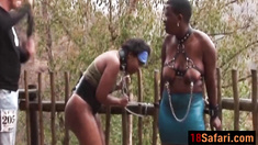 Fat Ebony sluts get spanked hard before they suck dick