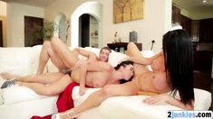 Two horny bitches sharing one big hard cock in a nasty threesome