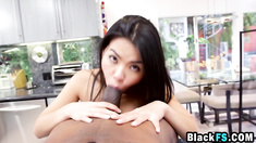 Petite Asian whore gives slobbering POV blowjob to black stud