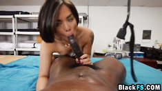 Tight beauty hard banged by black male with giant cock