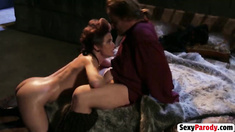 Sexy slut Cinderella lubes big cock using mouth before having hot sex