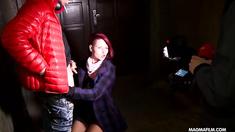Redhead gets gangbanged